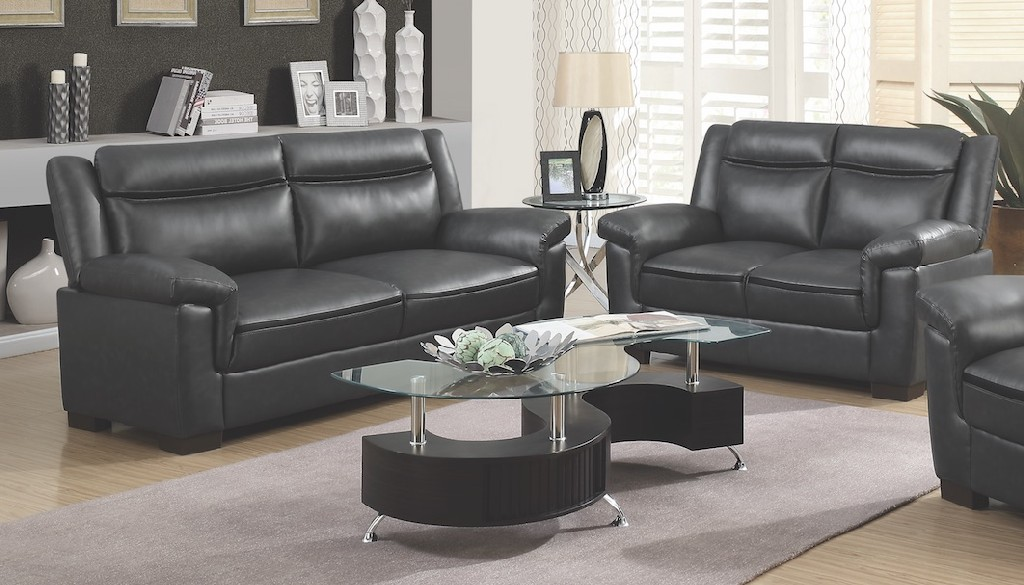 Coaster Brown Leather Two Living Room Set