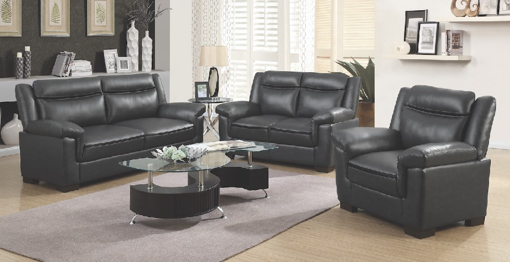 Coaster Brown Faux Leather Three Living Room Set