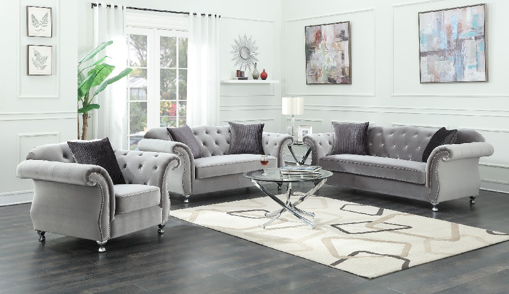 Coaster Frostine Traditional Silver Loveseat