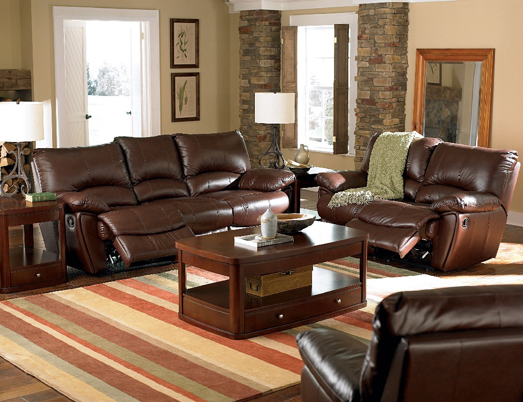 Dark Brown Reclining Three Living Room Set