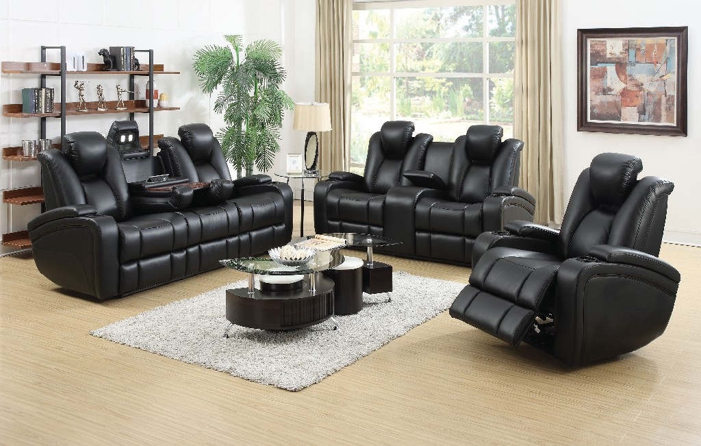 Coaster Black Leather Power Three Living Room Set