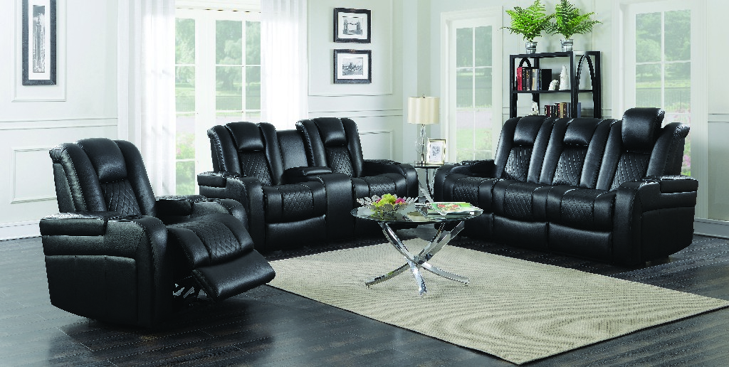 Coaster Power Three Black Living Room Set
