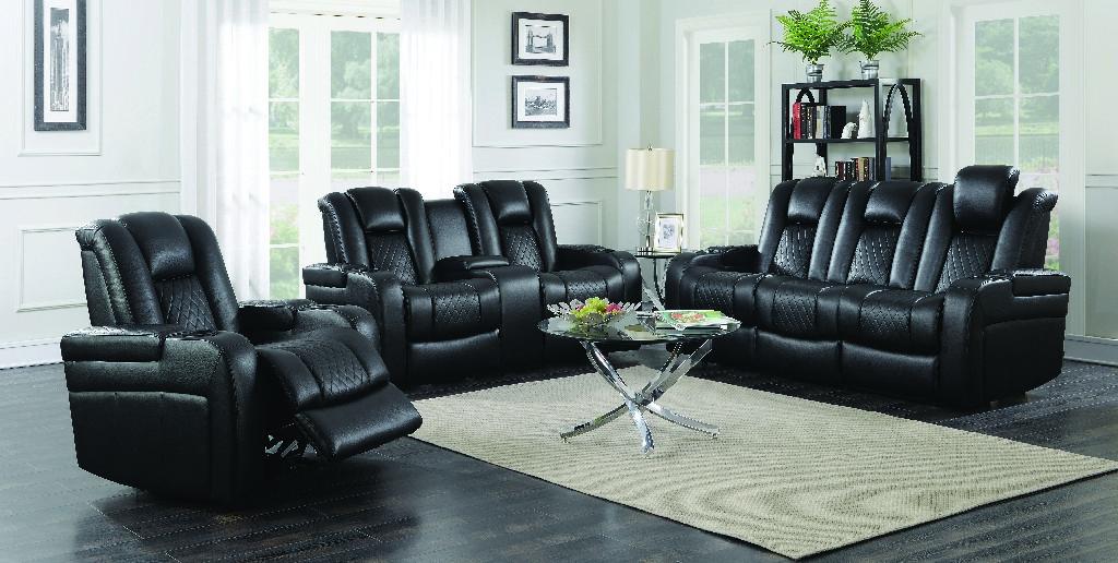 Coaster Power Motion Three Black Living Room Set