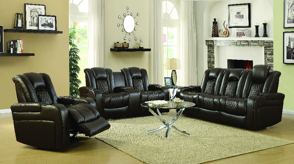 Brown Power Three Living Room Set