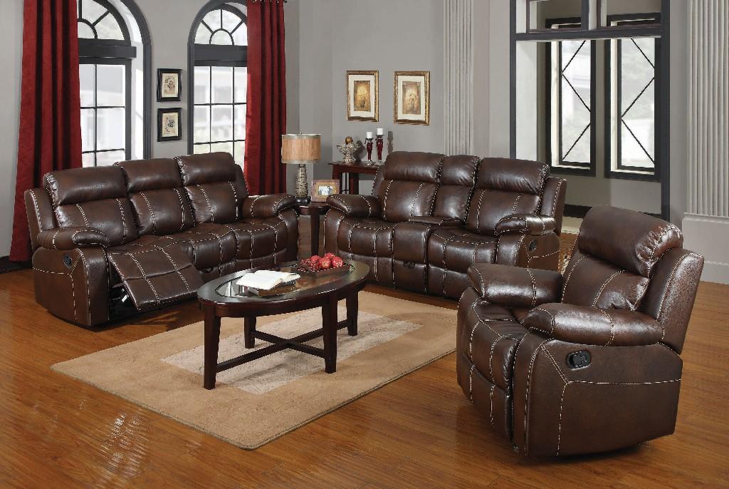 Coaster Chestnut Living Room Set Leather