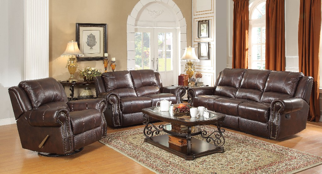 Coaster Sir Rawlinson Burgundy Brown Motion Sofa Loveseat Recliner