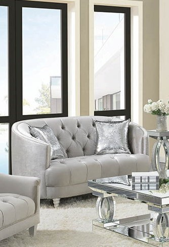 Coaster Avonlea Contemporary Grey Chrome Loveseat