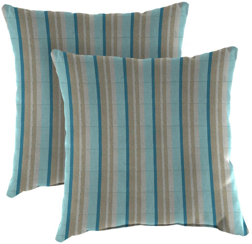 """20"""" Outdoor Accessory Throw Pillows, Set of 2- Sunbrella GETAWAY MIST GLEN RAVEN - Jordan Manufacturing 9972PK2-3576H"""