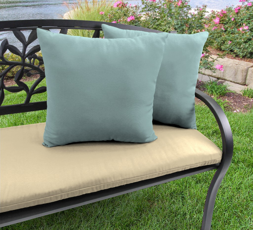 "20"" Outdoor Accessory Throw Pillows, Set of 2- Sunbrella SHORE LINEN GLEN RAVEN - Jordan Manufacturing 9972PK2-3644H"