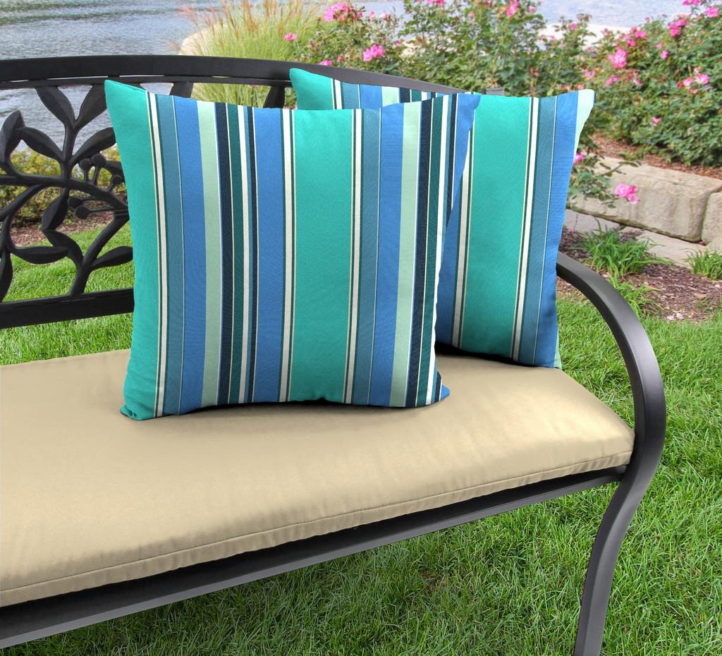 "20"" Outdoor Accessory Throw Pillows, Set of 2- Sunbrella DOLCE STR OASIS ACR GLEN RAVEN - Jordan Manufacturing 9972PK2-594H"