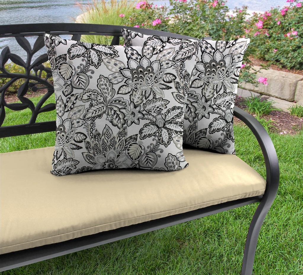 """20"""" Outdoor Accessory Throw Pillows, Set of 2-COPELAND NOIR RICHLOOM - Jordan Manufacturing 9972PK2-6494D"""