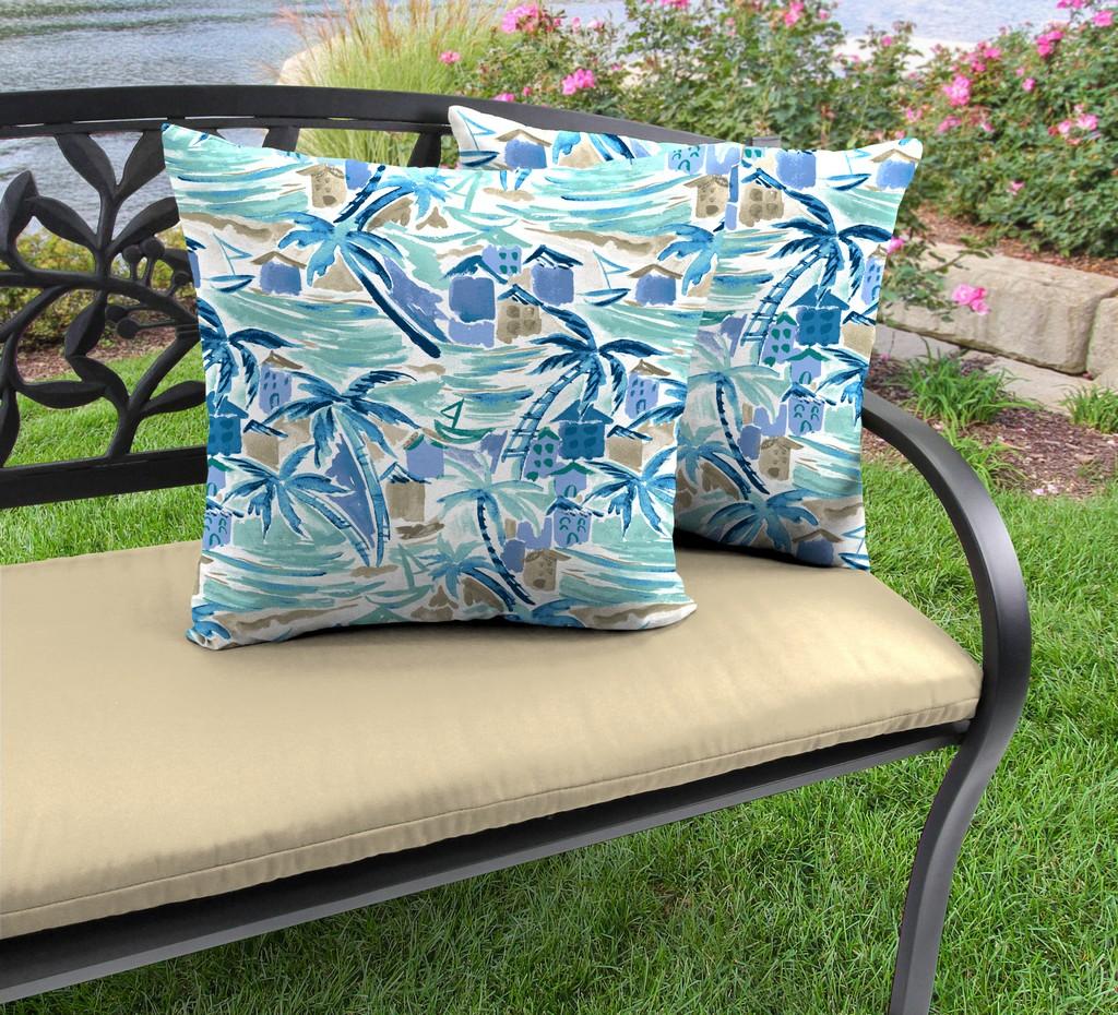 "20"" Outdoor Accessory Throw Pillows, Set of 2-BALLYFIN BAY BLUE RICHLOOM - Jordan Manufacturing 9972PK2-6641D"