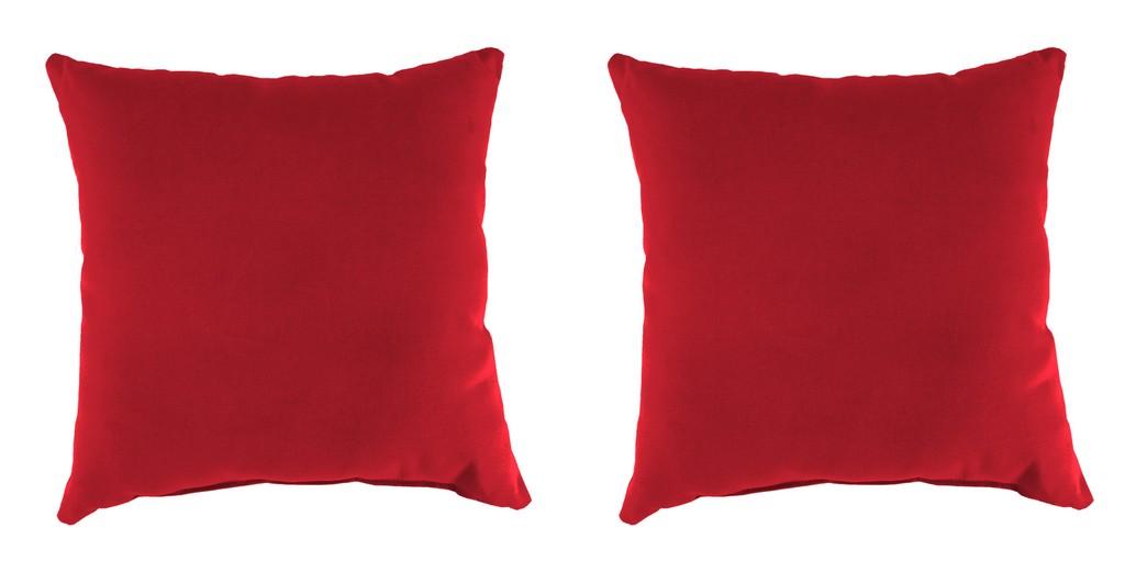 "20"" Outdoor Accessory Throw Pillows, Set of 2- Sunbrella CANVAS JOCKEY ACR RED ACR GLEN RAVEN - Jordan Manufacturing 9972PK2-873H"