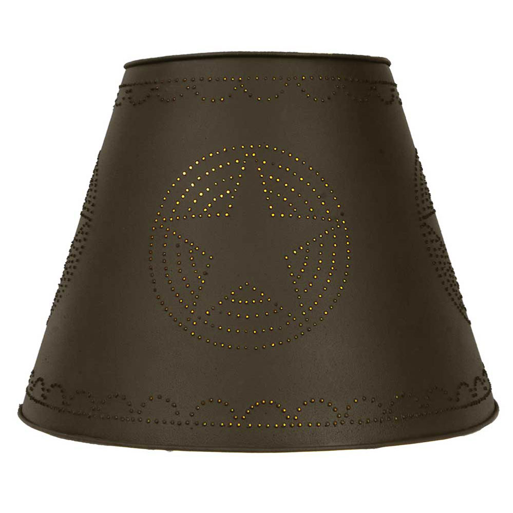 9X17X12 Star Tin Washer Top Lamp Shade - Rustic Brown - CTW Home Collection 220050