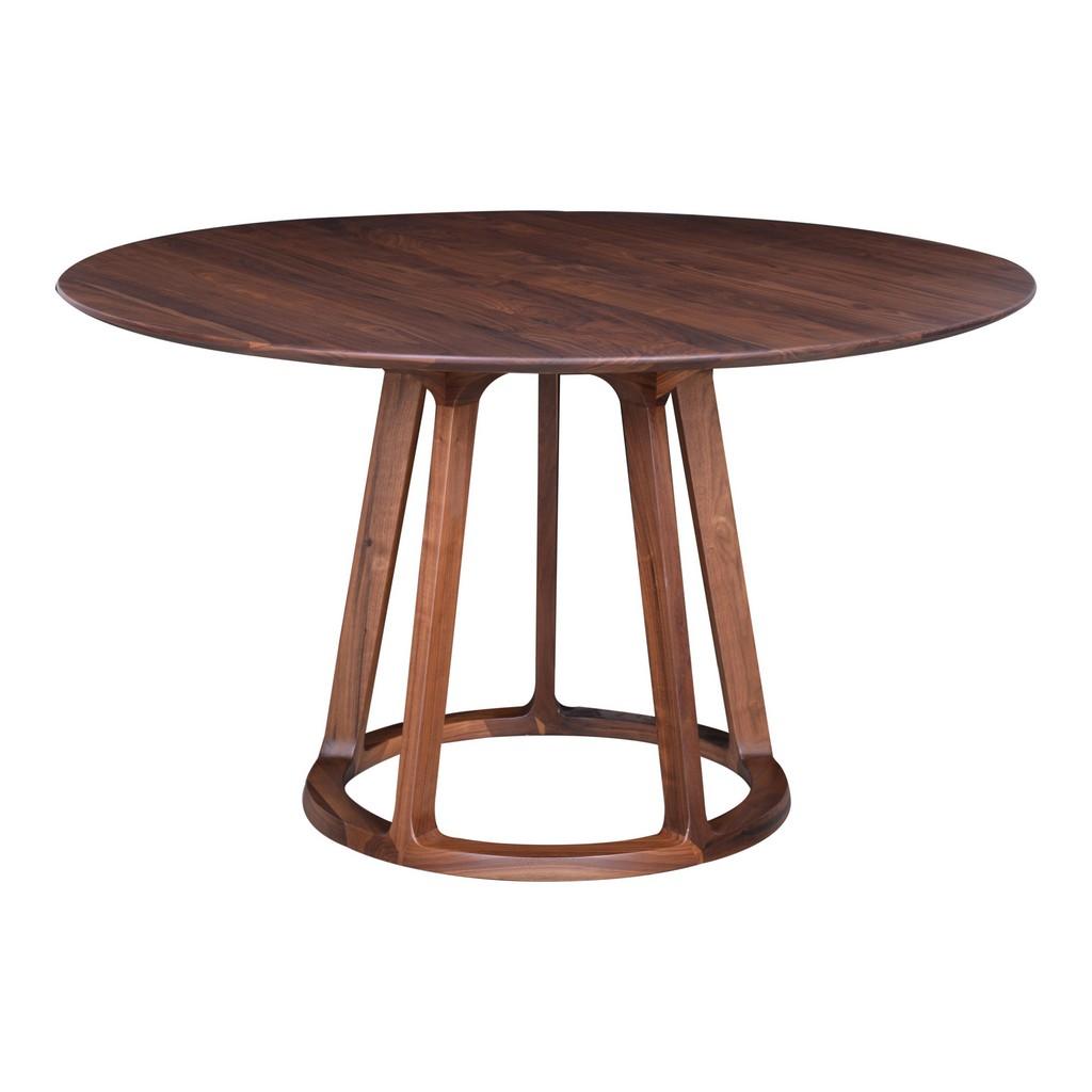 Aldo Round Dining Table Walnut Moe