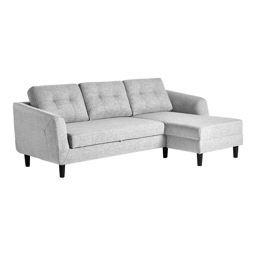Belagio Sofa Bed Chaise Light Grey Right Moe