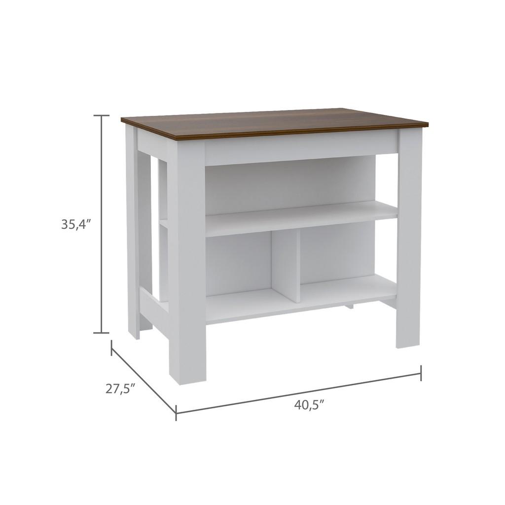 Brooklyn Kitchen Island White - Caramel - RTA Design ABC5530