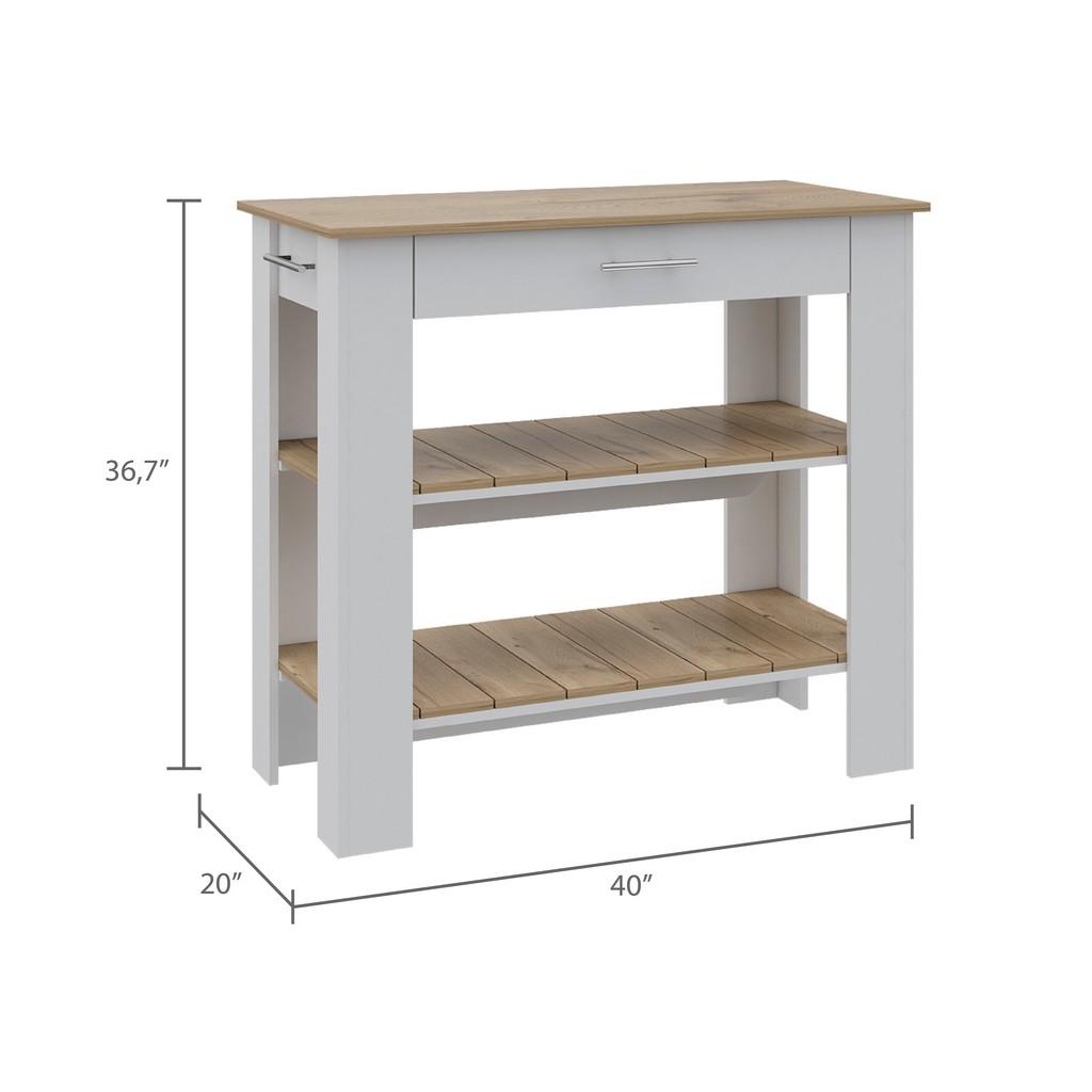 Brooklyn 50 Kitchen Island White - Pine - RTA Design ABD5776