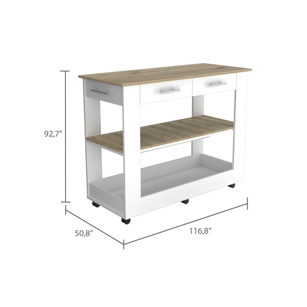 Brooklyn 80 Kitchen Island White - Pine - RTA Design ABD5778