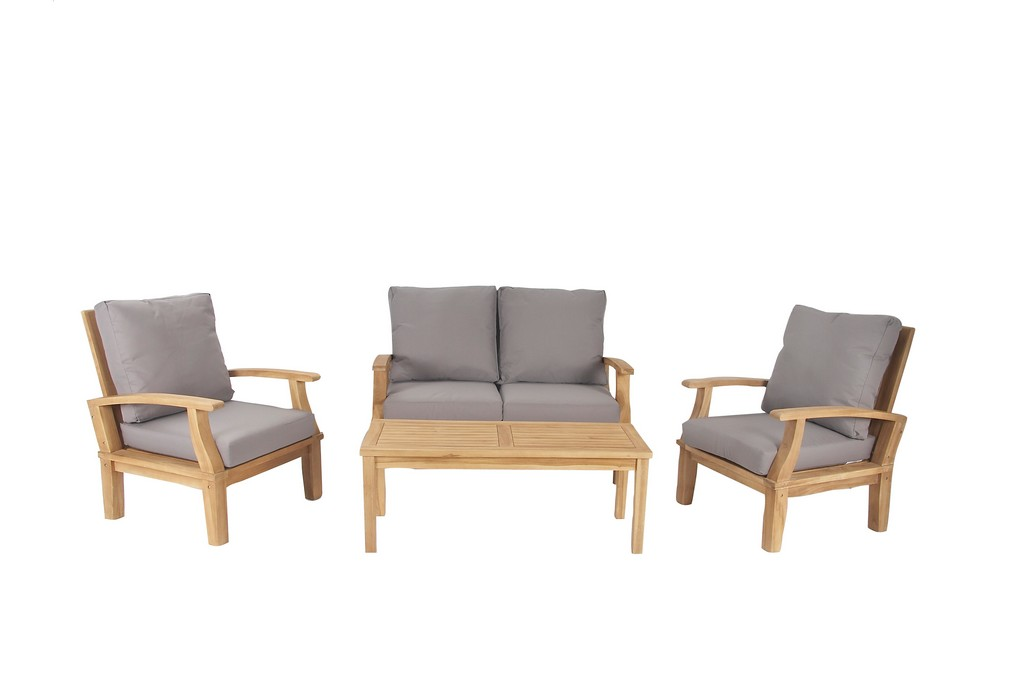 Light Brown Teak Wood Contemporary Outdoor Seating Set