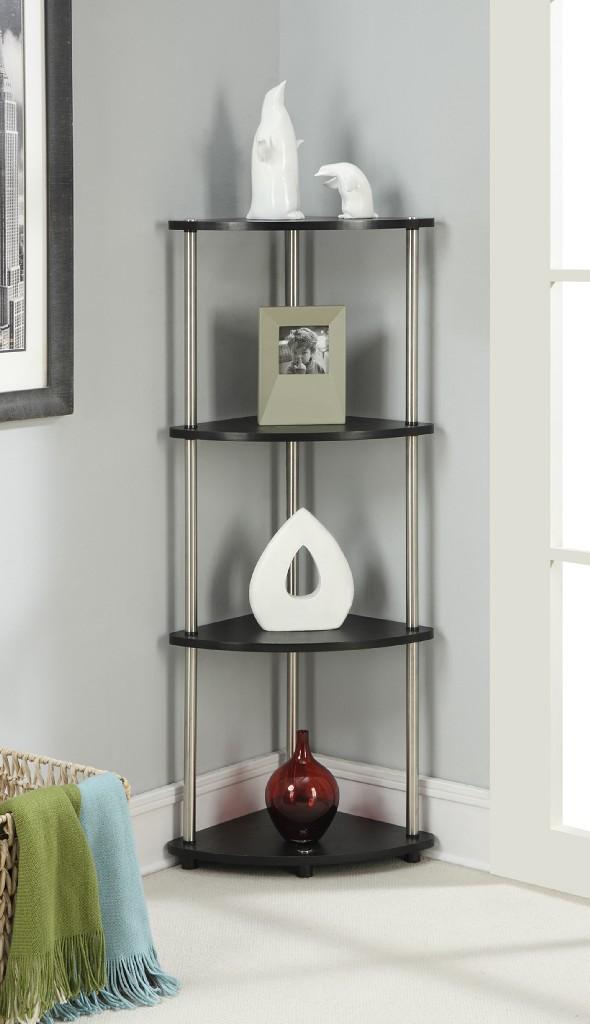 4 Tier Corner Shelf in Black Finish - Convenience Concepts 111075