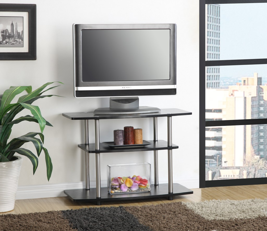 3 Tier TV Stand in Black Finish - Convenience Concepts 131020