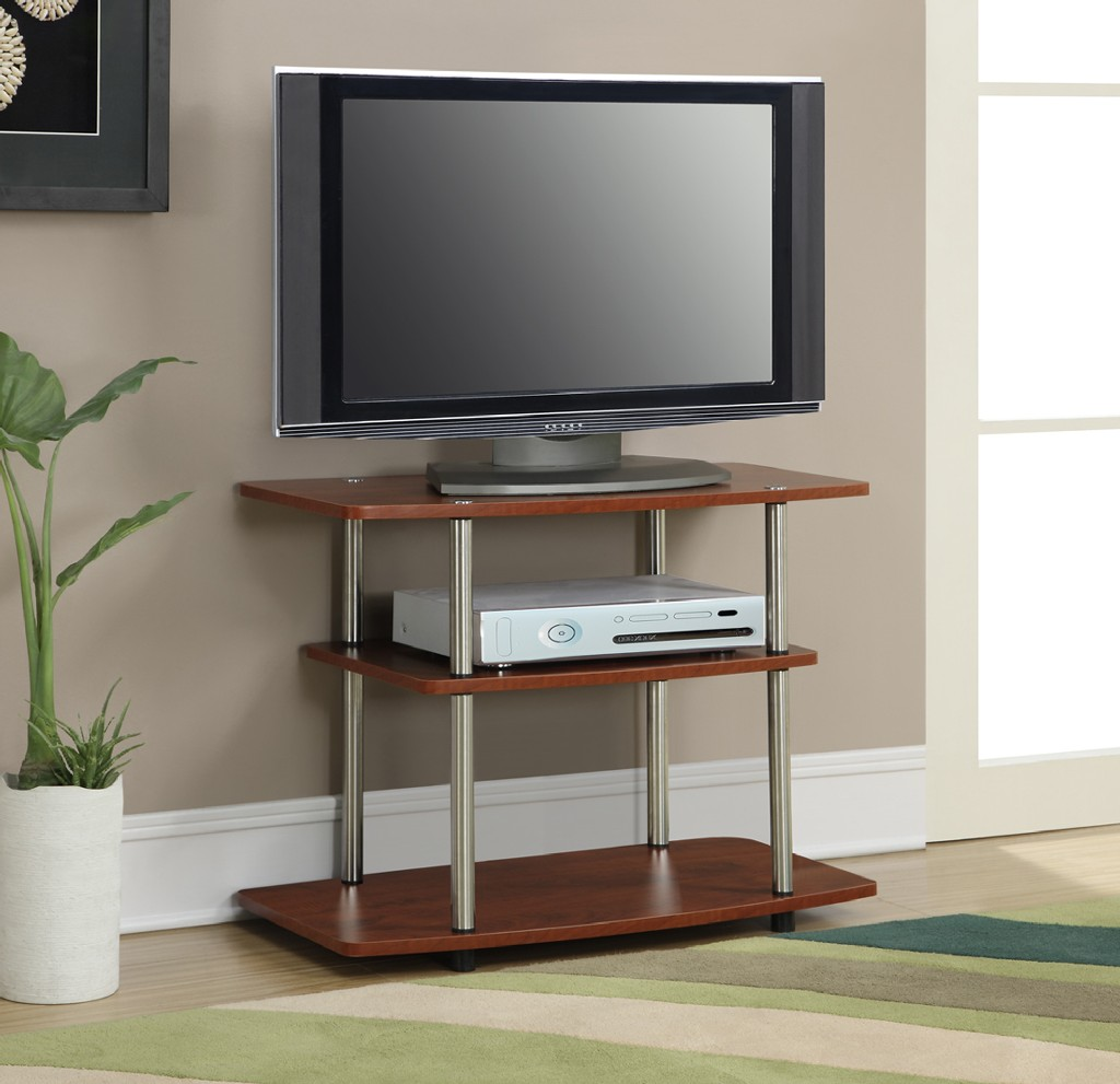 3 Tier TV Stand in Cherry Finish - Convenience Concepts 131020CH