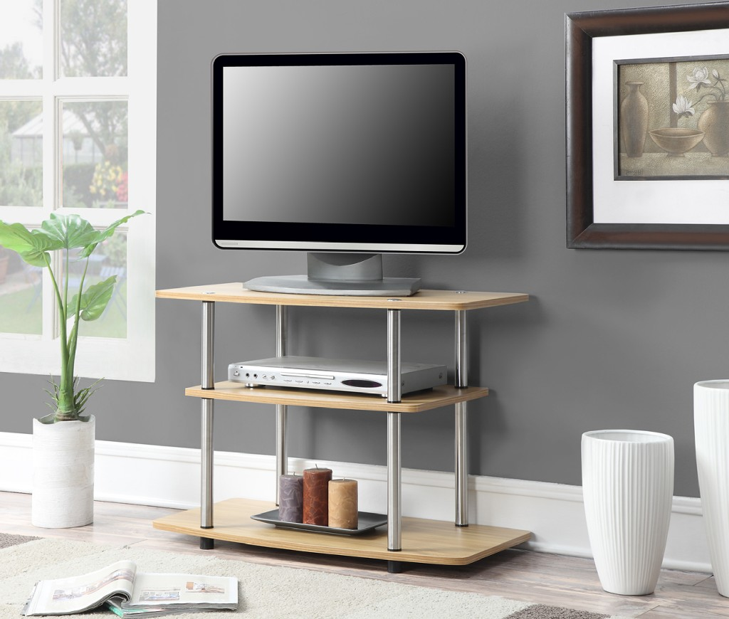 3 Tier TV Stand in Light Oak Finish - Convenience Concepts 131020LO
