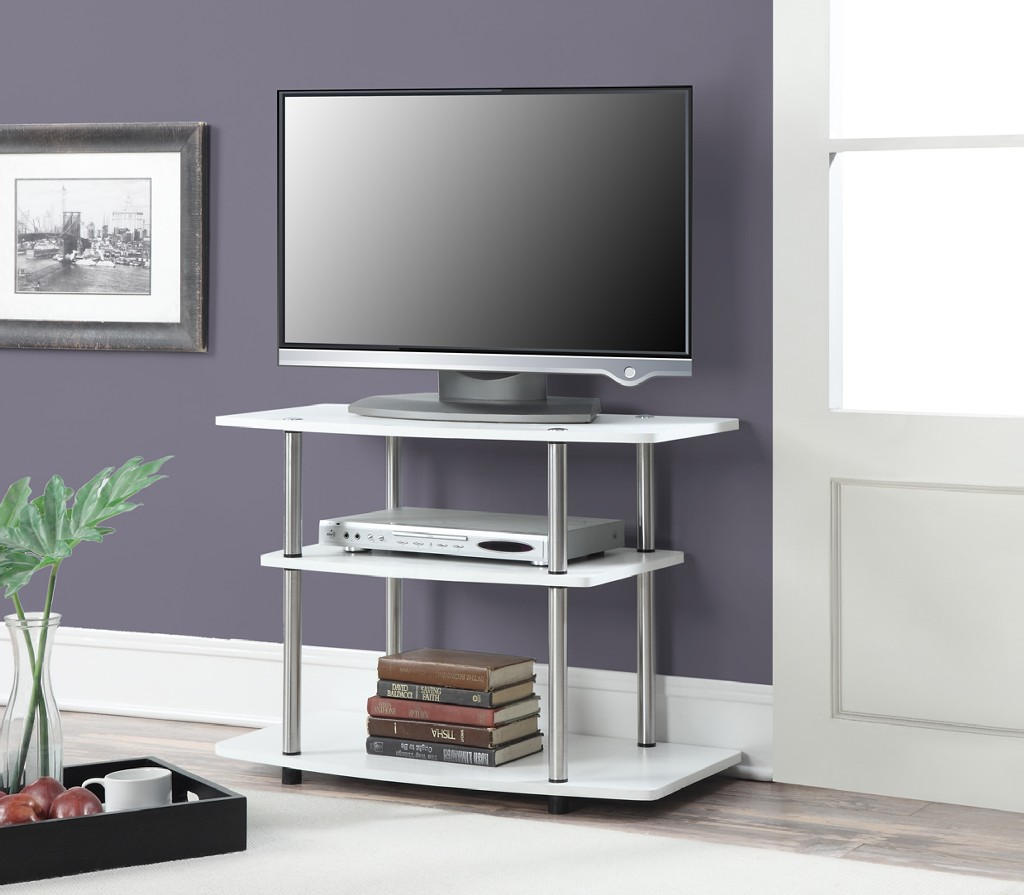3 Tier TV Stand in White Finish - Convenience Concepts 131020W