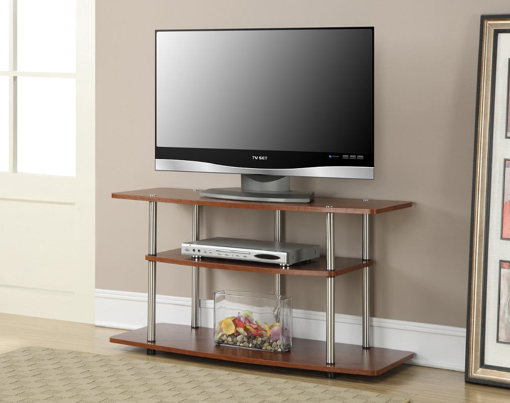 3 Tier Wide TV Stand in Cherry Finish - Convenience Concepts 131031CH