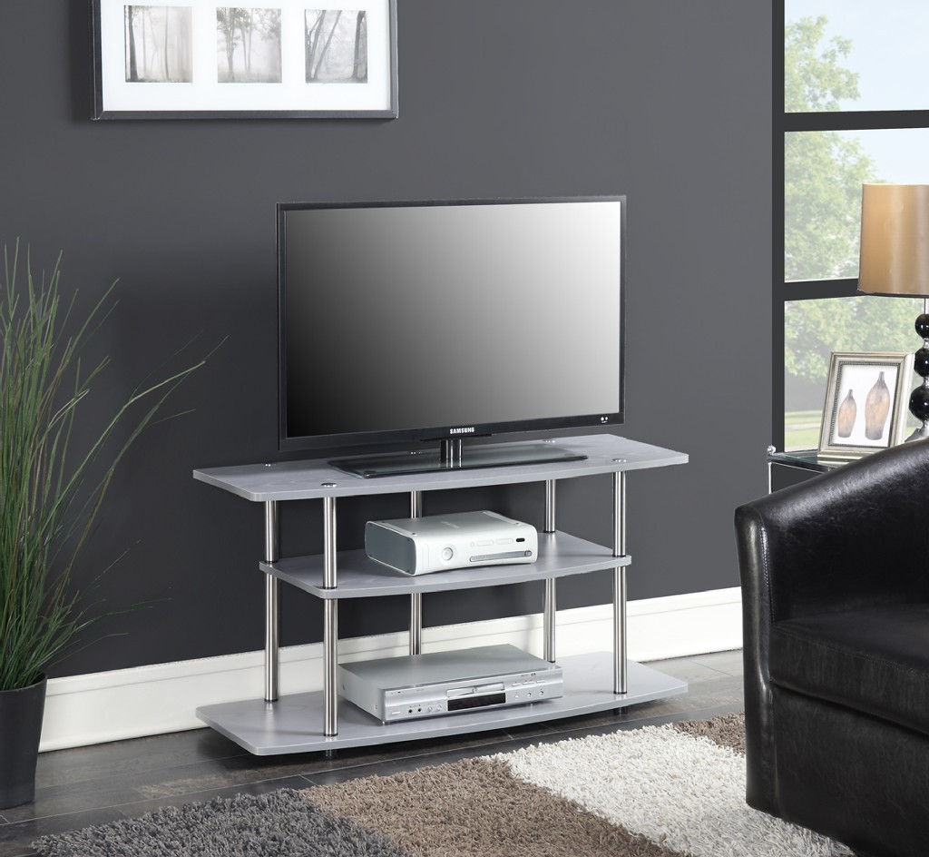 3 Tier Wide TV Stand in Gray - Convenience Concepts 131031GY