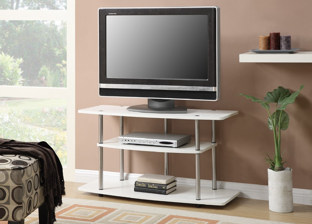 3 Tier Wide TV Stand in White Finish - Convenience Concepts 131031W