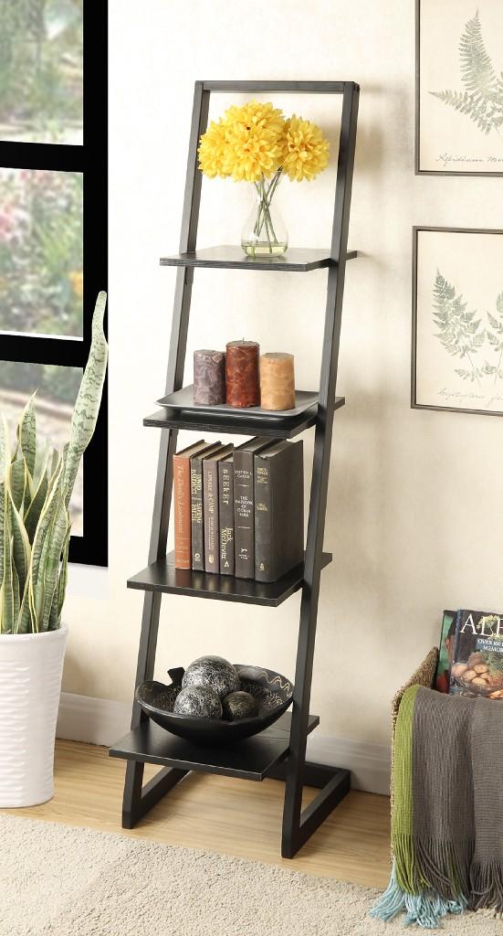 4 Tier Ladder Bookshelf in Black Finish - Convenience Concepts 131499BL