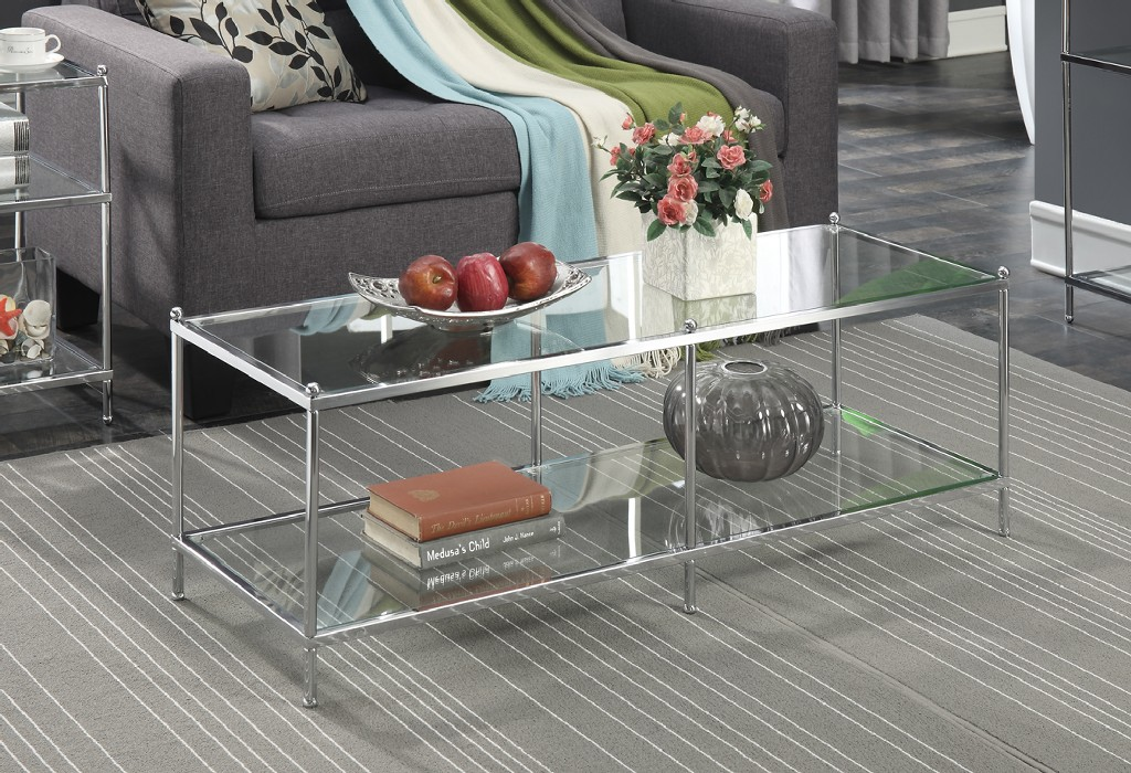 Royal Crest Coffee Table In Chrome / Glass Finish - Convenience Concepts 134082