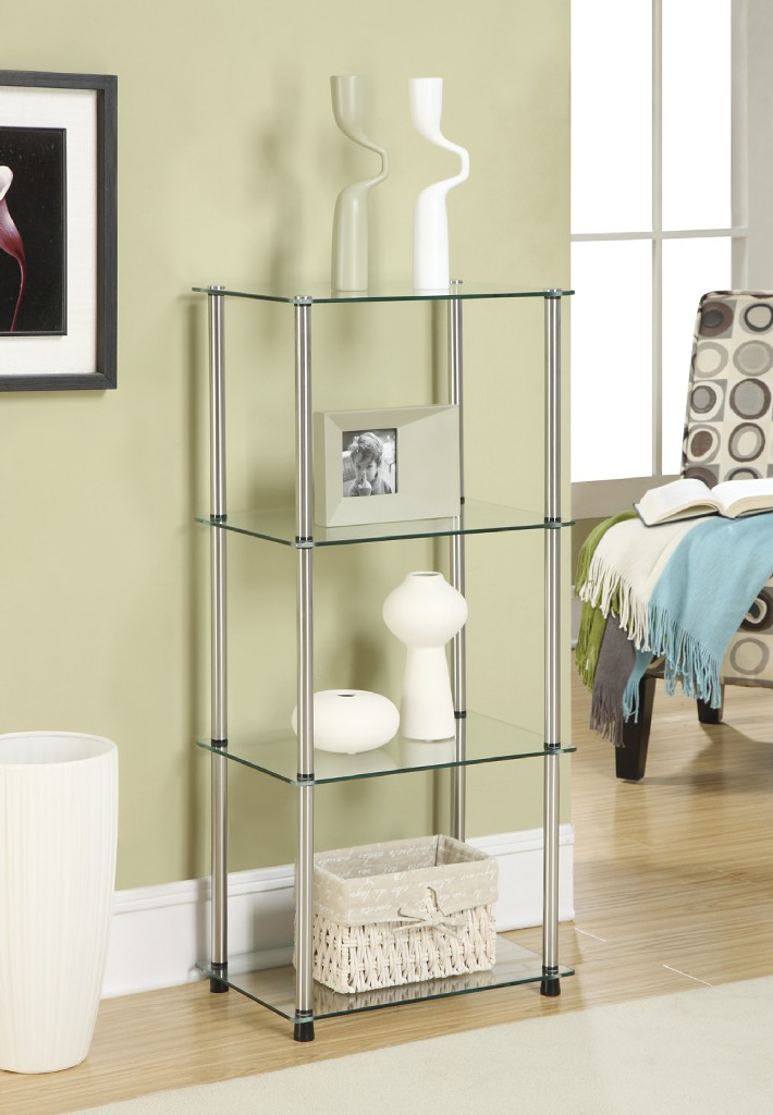4 Tier Tower in Glass Finish - Convenience Concepts 157001