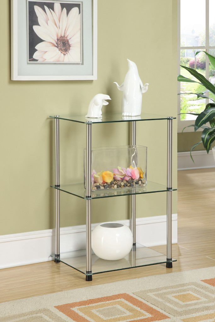 3 Tier Lamp / End Table in Glass Finish - Convenience Concepts 157003