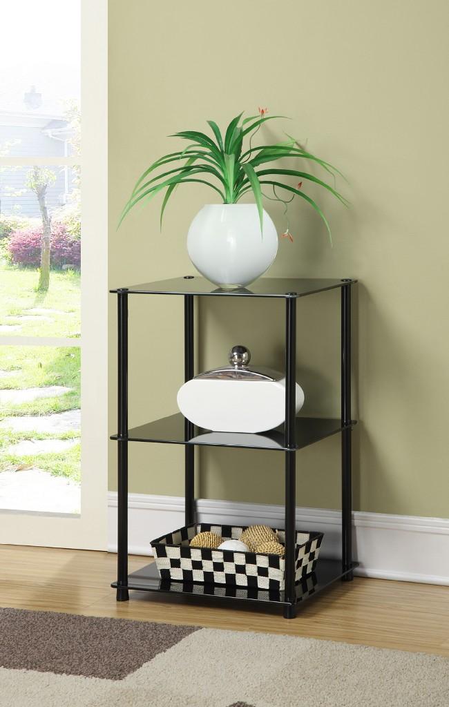 3 Tier Lamp / End Table w/ Black Glass - Convenience Concepts 157003B