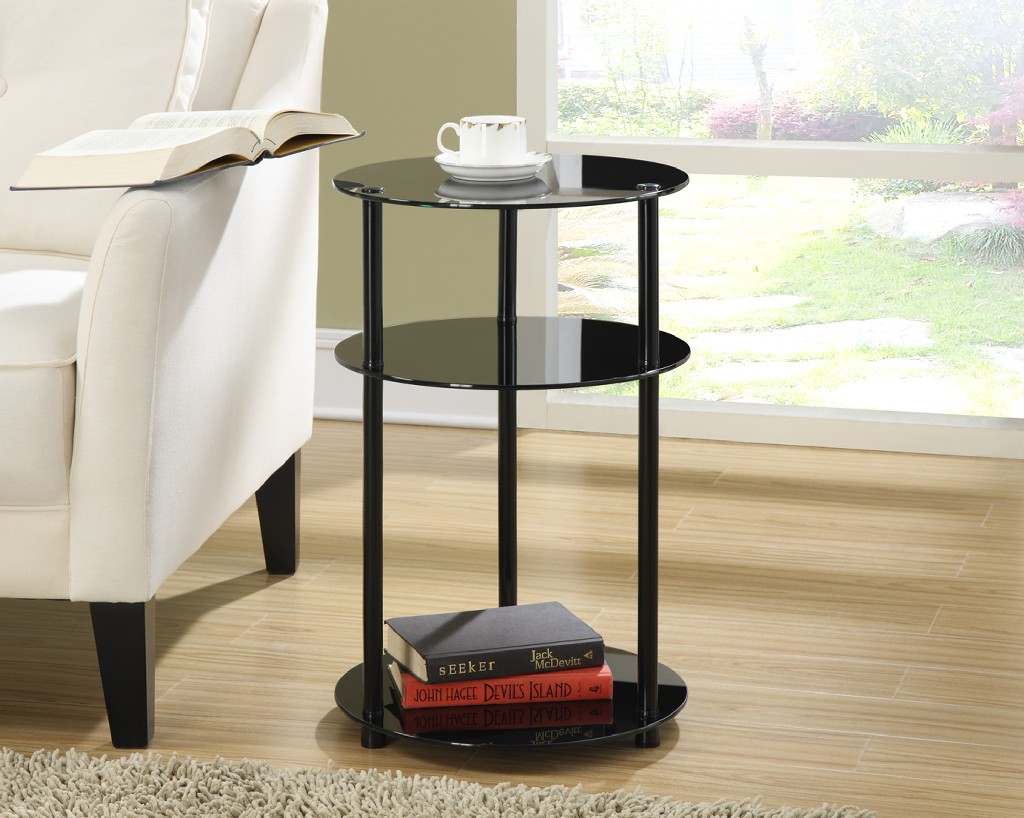 3 Tier Round Table, Black Glass in Black Glass Finish - Convenience Concepts 157007B