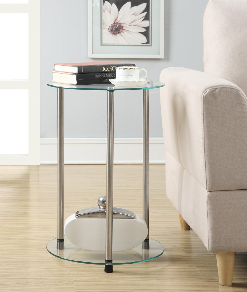 2 Tier Round End Table in Glass Finish - Convenience Concepts 157008