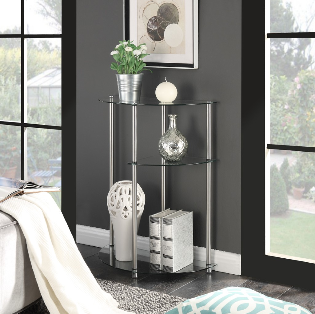 3 Tier Glass Display Entryway Table in Glass Finish - Convenience Concepts 157075