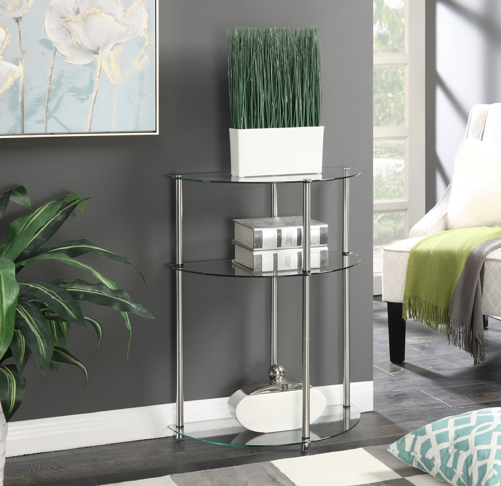 3 Tier Glass Entryway Table in Glass Finish - Convenience Concepts 157082
