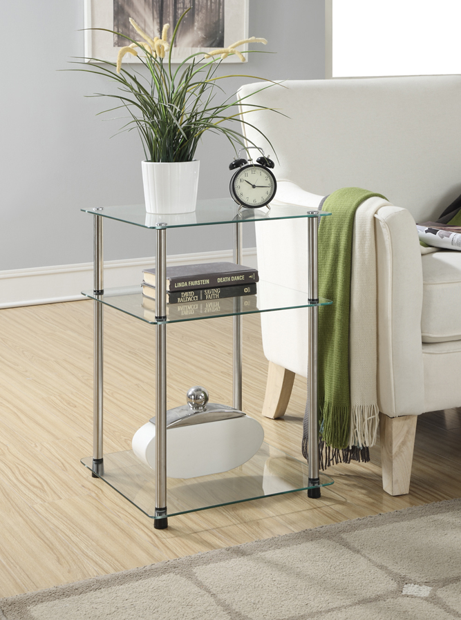 3 Tier End Table in Glass Finish - Convenience Concepts 157460