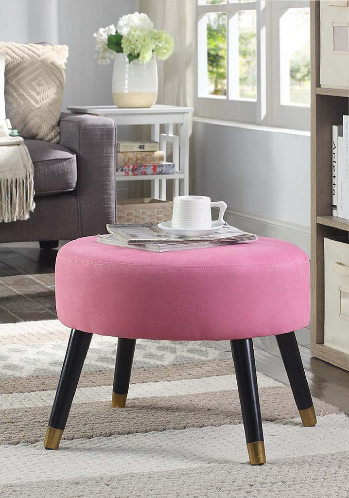 Century | Ottoman | Suede | Stool | Pink | Faux