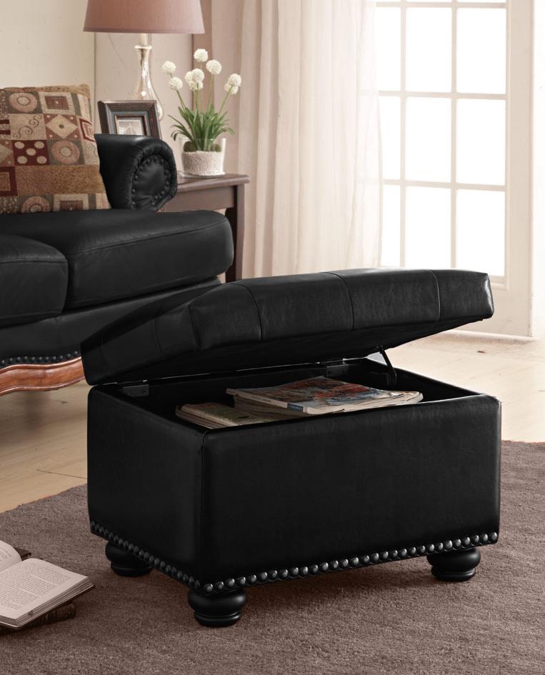 5th Avenue Storage Ottoman in Black Finish - Convenience Concepts 163010B