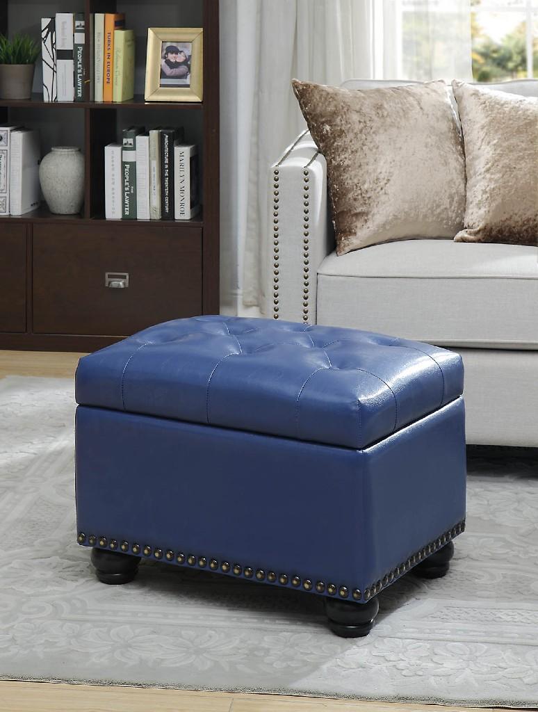 5th Avenue Storage Ottoman in Blue Letterette - Convenience Concepts 163010BE
