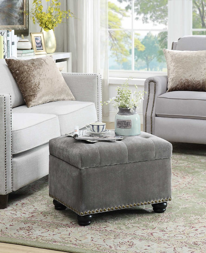 5th Avenue Storage Ottoman in Gray Velvet - Convenience Concepts 163010FVGY