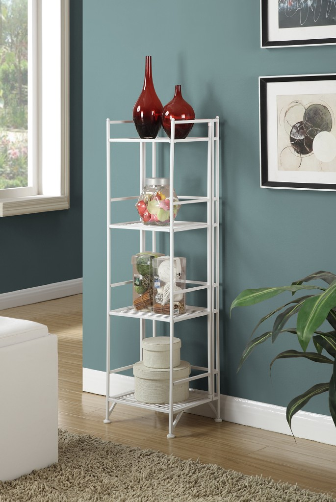 4 Tier Folding Metal Shelf in White Finish - Convenience Concepts 8017W