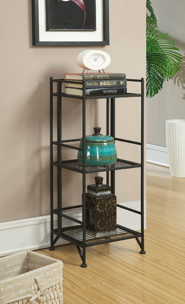 3 Tier Folding Metal Shelf in Black Finish - Convenience Concepts 8018B