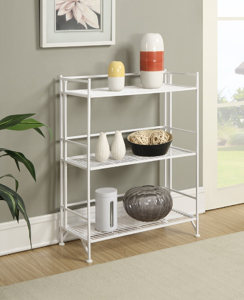 3 Tier Wide Folding Metal Shelf in White Finish - Convenience Concepts 8019W