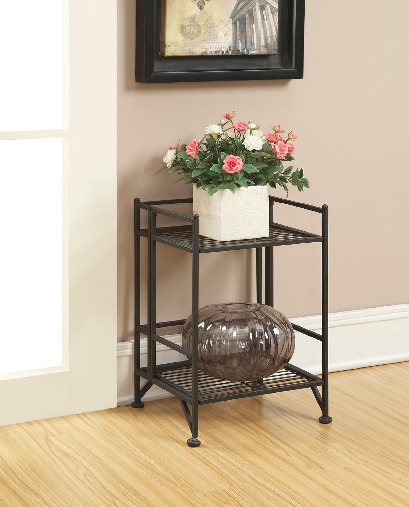 2 Tier Folding Metal Shelf in Black Finish - Convenience Concepts 8020B